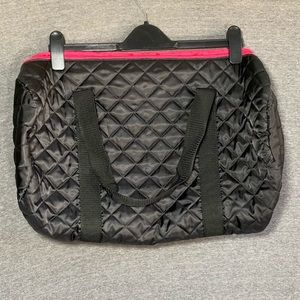 EUC black and neon pink overnight bag